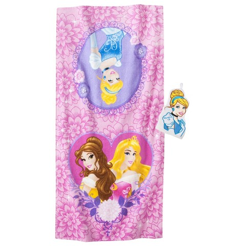Disney® Princess Cinderella Bath Towel/Wash Mitt Set - Pink