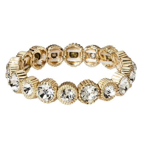 Capsule by Cära Stretch Bracelet with Medium Clear Stones - Gold