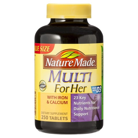 Nature Made Multi For Her with Iron and Calcium Tablets - 250 Count