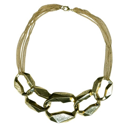 Link Chain Fashion Necklace with Large Stones - Gold/Clear