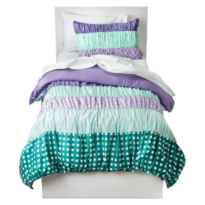 Circo Dots & Stripes Ruched Bed Set Purple Tar