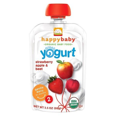 Happy Baby Greek Yogurt Pouch - Strawberry, Apple, & Beet 3.5 oz (8 Pack)