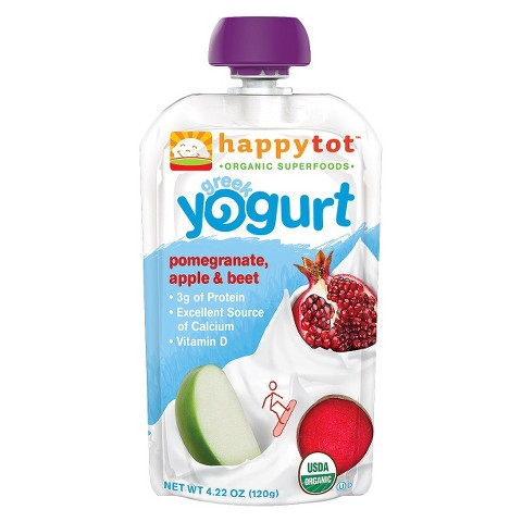 Happy Baby Greek Yogurt Pouch - Pomegranate, Apple, and Beet 4.22 oz (8 Pack)
