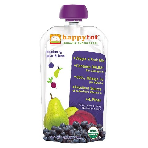 Happy Baby Fruit & Vegetable Pouch - Blueberry, Pear, & Beet 4.22 oz (8 Pack)