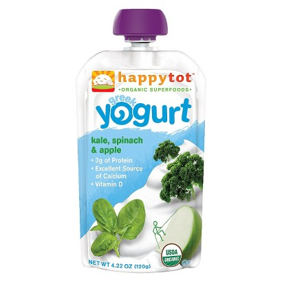 Happy Baby Yogurt Pouch - Kale, Spinach, Apple 4.22 oz (8 Pack)