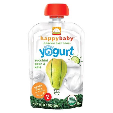 Happy Baby Greek Yogurt Pouch - Pear, Zucchini, Kale 3.5 oz (8 Pack)