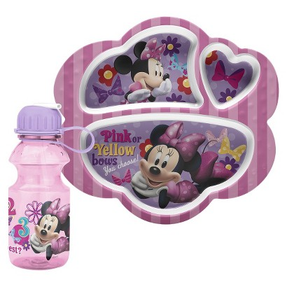 Minnie Mouse Divided Tray and Bottle Set