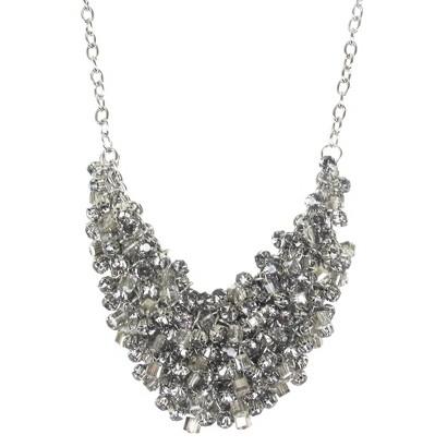 "Bib Cluster Stone Necklace - Silver (18+3"")"
