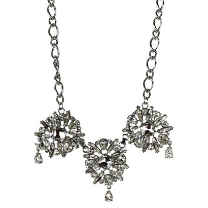 "Crystal Rhodium Necklace - Clear (17"")"