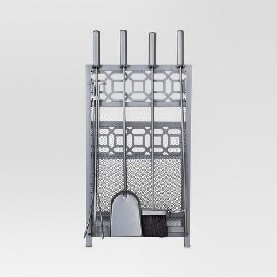 Threshold™ Geometric Log Bin with Tools - Antique Iron Finish