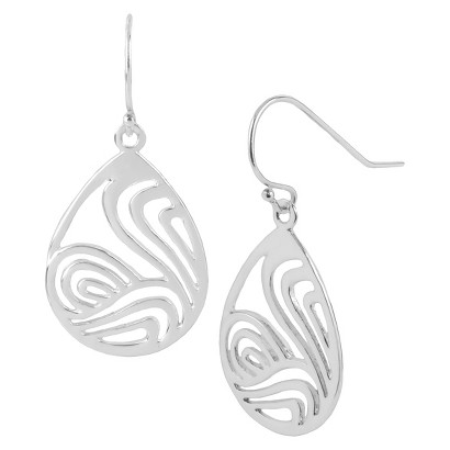 Silver Plated Cut Out Drop Earrings - Silver