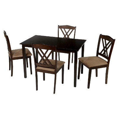 5 Piece Double Cross Back Dining Set Wood/Coffee - TMS