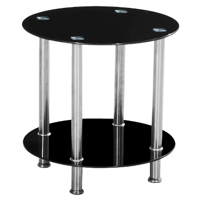 Glass Round Accent Table - Black