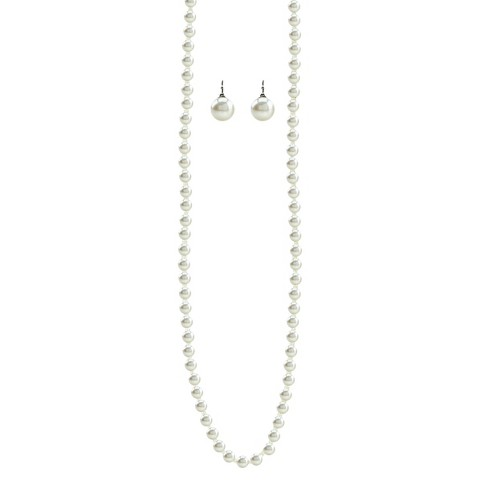 Pearl Stud Earrings and Necklace Set - Cream