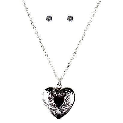 Stud Earrings and 'Heart' Pendant Necklace Set - Silver