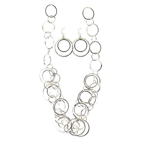 Hoops Earrings and Hoops Necklace Set - Silver