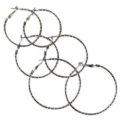 Multi-Size Hoop Earrings Set of 3 - Silver