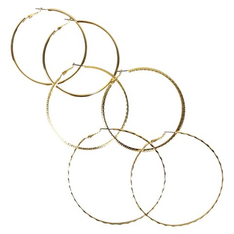 Trio Thin Hoop Earring Set - Gold