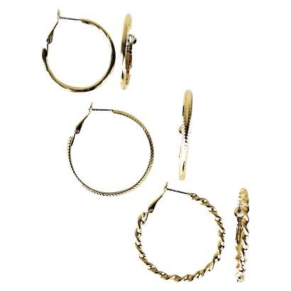 Trio Textured Hoop Earring Set - Gold
