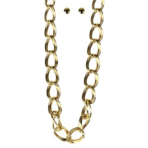 Large Loops Chain Necklace and Stud Earrings Set - Gold