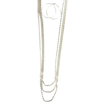 Multi Chains Necklace with Large Hoop Earrings - Silver