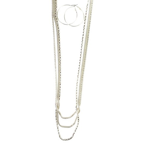 Multi Chains Necklace with Large Hoop Earrings Set - Silver