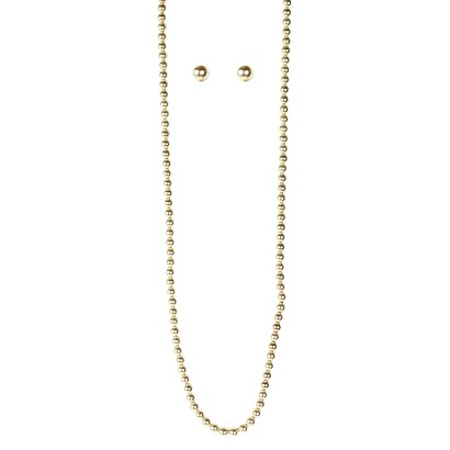 Pearl Earring and Necklace Set - Gold