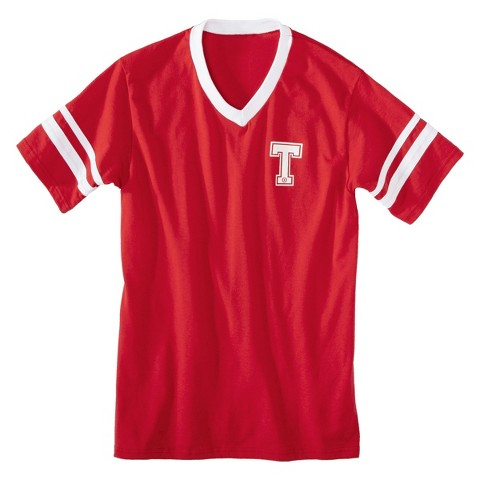 Men's Red V-Neck Jersey with Striped Sleeves T-Shirt