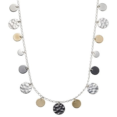 Lonna & Lilly Mixed Metal Discs Necklace - Silver/Hematite/Gold