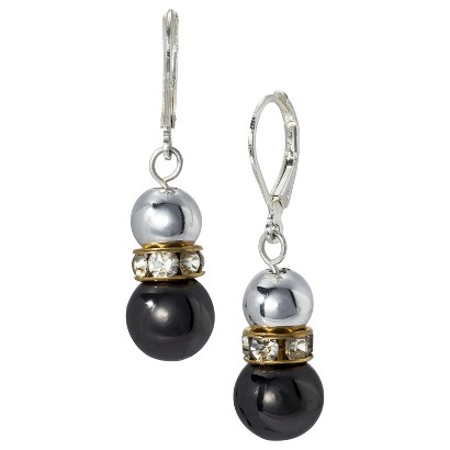 Lonna & Lilly Mixed Metal Beaded Drop Earrings - Silver/Hematite