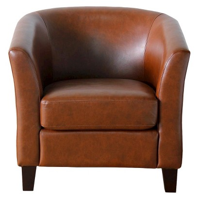 Portland Upholstered Tub Chair - Camel Bonded Leather