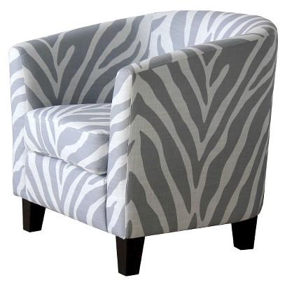 Portland Upholstered Tub Chair - Gray/White Zebra