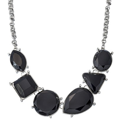 Fashion Statement Necklace with Multi-Shaped Stones  - Silver/Black