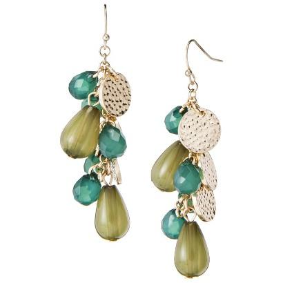 Fashion Cluster Drop Earrings - Gold