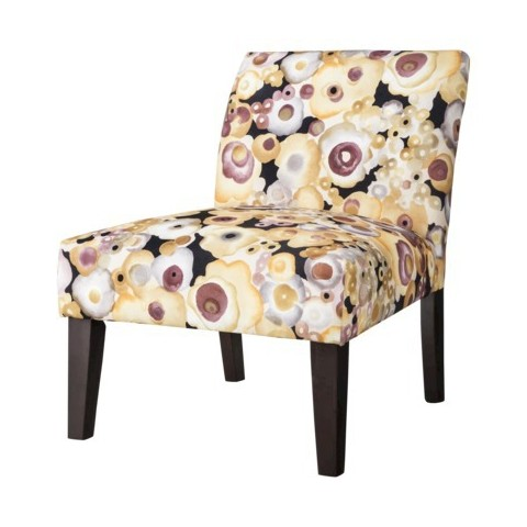 Avington Upholstered Slipper Chair Black/Purple/Orange Floral
