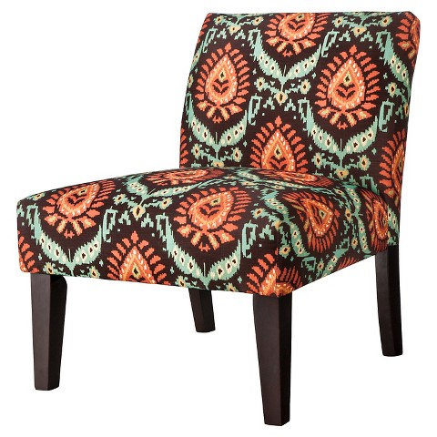 Avington Upholstered Slipper Chair - Espresso/Blue/Orange Ikat