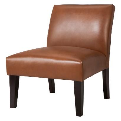 Avington Upholstered Slipper Chair - Camel Bonded Leather
