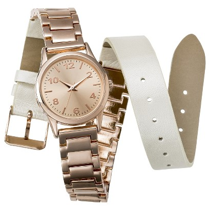 Women's Mossimo® Bracelet/Strap Double Wrap Analog Watch - Rose Gold