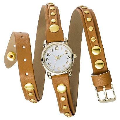 Women's Mossimo® Studded Leather Triple Wrap Analog Watch - Cognac