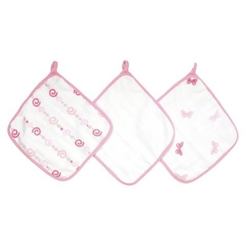 aden® by aden + anais® washcloth set 3-pack, girls n' swirls