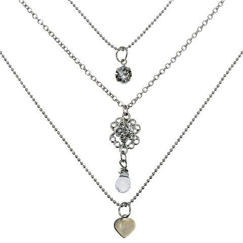 3 Row Charm Long Necklace - Silver