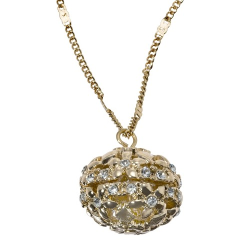 Openwork Crystal Ball Pendant Necklace - Gold