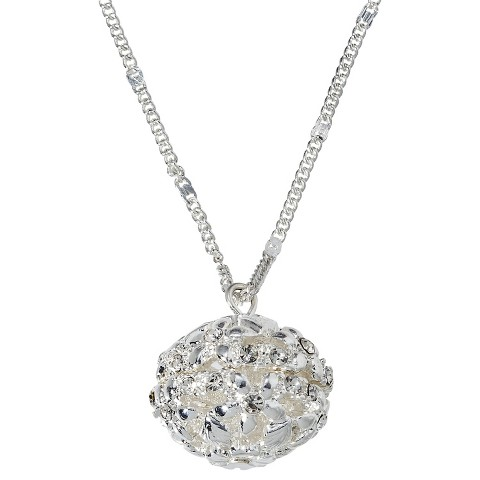 Openwork Crystal Ball Pendant Necklace - Silver