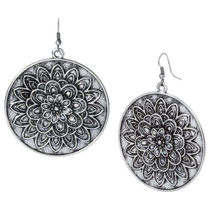 Large Floral Disc Earrings  - Oxidized Silver