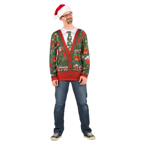 Adult Ugly Sweater Shirt with Tie Plus Size Costume - XXl