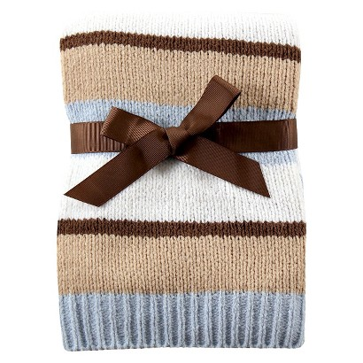 Hudson Baby Chenille Stripe Baby Blanket with Gift Ribbon - Blue