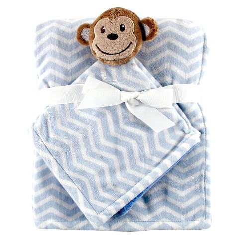Hudson Baby Plush Security Blanket & Blanket - Blue Monkey