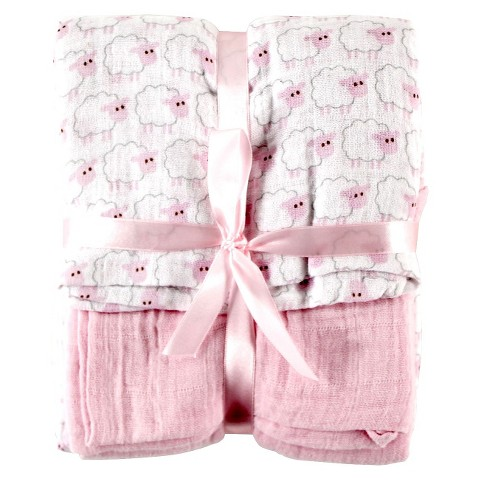 Hudson Baby Muslin 2pk Baby Swaddle Blanket with Gift Ribbon - Pink Sheep