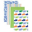 Luvable Friends 4pk Flannel Receiving Blankets with Gift Ribbon - Blue Rhinos