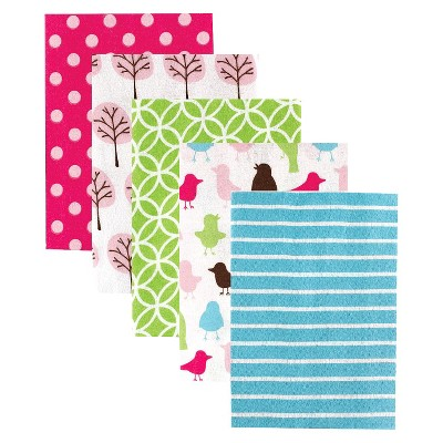 Luvable Friends 5pk Flannel Receiving Blankets - Pink Birds & Trees
